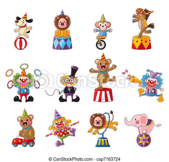 icônes, cirque, collection, exposition, dessin animé, heureux - csp7163724
