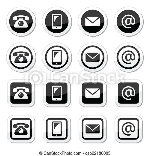icônes, contact, cercle, carrée - csp22186005