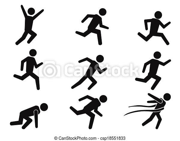 icônes, coureur, figure, ensemble, crosse - csp18551833
