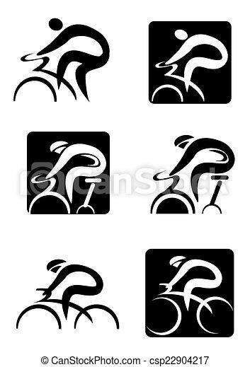 icônes, cyclisme, rotation - csp22904217