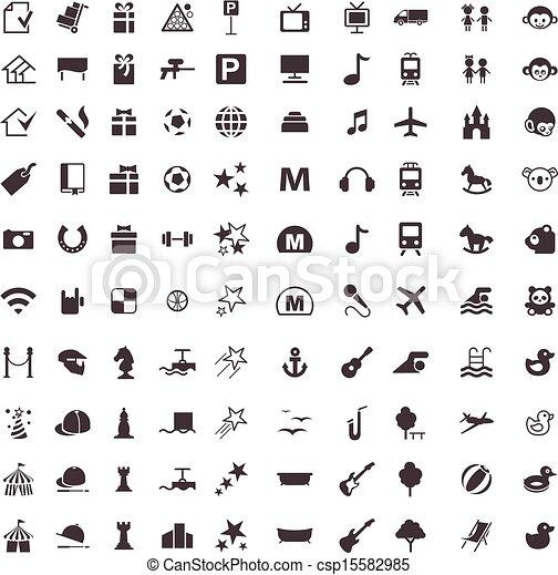 icônes, divertir, vecteur, jeux - csp15582985