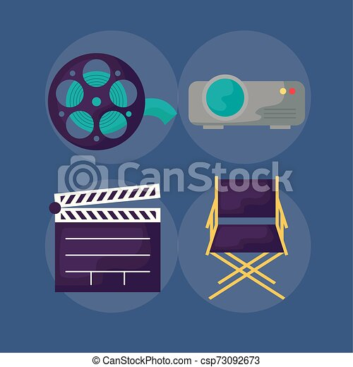 icônes, ensemble, bardeau, cinéma - csp73092673