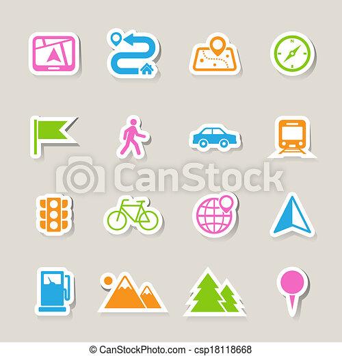 icônes, ensemble, carte, emplacement - csp18118668