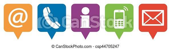 icônes, ensemble, cinq, nous, contact - csp44705247