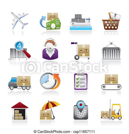 icônes, expédition, logistique, cargaison - csp11657111