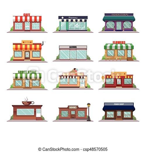 icônes, façade, magasin - csp48570505