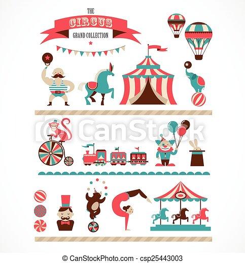 icônes, fond, foire, amusement, cirque, collection, vecteur, énorme, vendange, carnaval - csp25443003