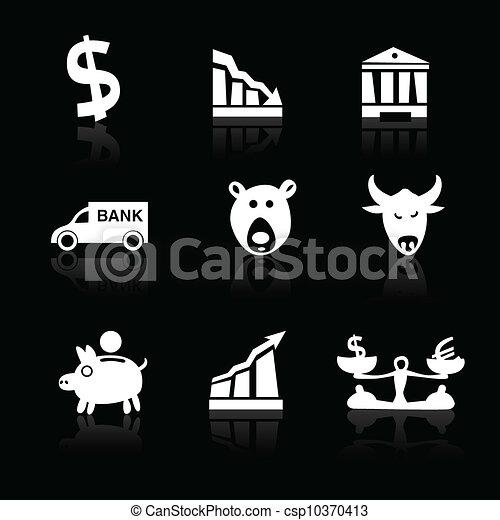 icônes, main, 1, banque, partie, noir, dessiné, blanc - csp10370413