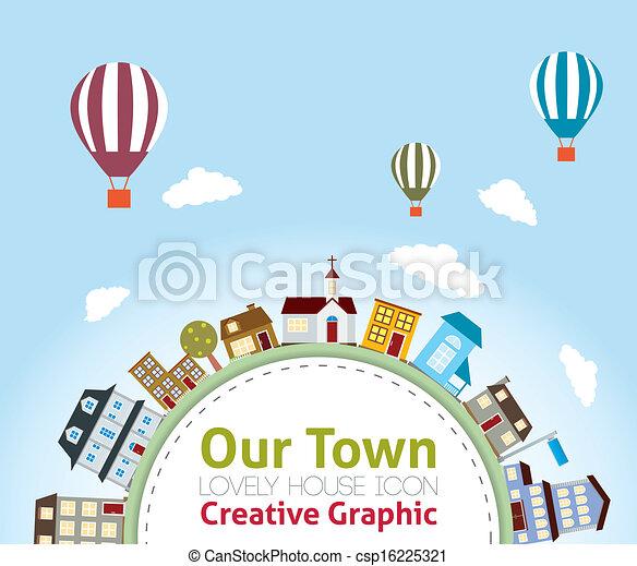 icônes, maison, notre, (h, agréable, ville - csp16225321
