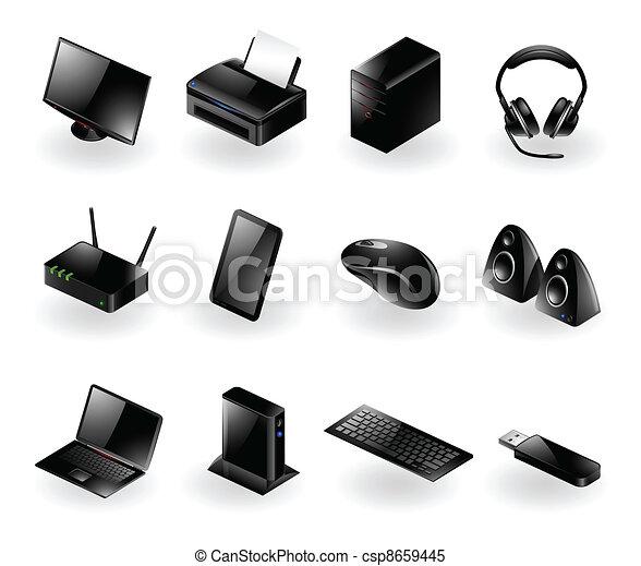 icônes, matériel informatique, mélangé - csp8659445