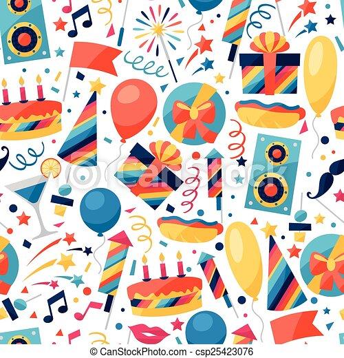 icônes, modèle, seamless, fête, objects., célébration - csp25423076