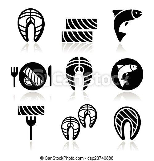 icônes, nourriture, saumon, fish, -, repas - csp23740888