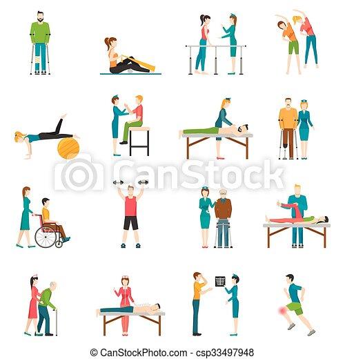 icônes, physiothérapie, couleur, rééducation - csp33497948