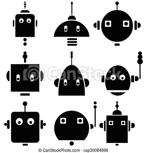 icônes, retro, 2, robots, têtes, vendange - csp30084896