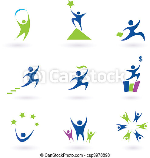icônes, reussite, social, business - csp3978898