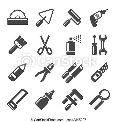 Ic nes set main vecteur bricolage outils ic nes - Clipart bricolage ...