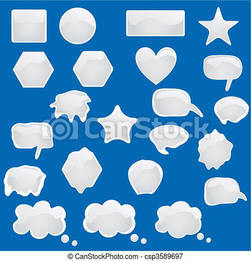 icônes, symboles, bulles, t, ensemble - csp3589697