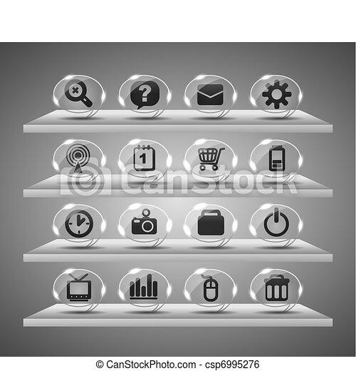 icônes toile, boutons, verre, speach - csp6995276