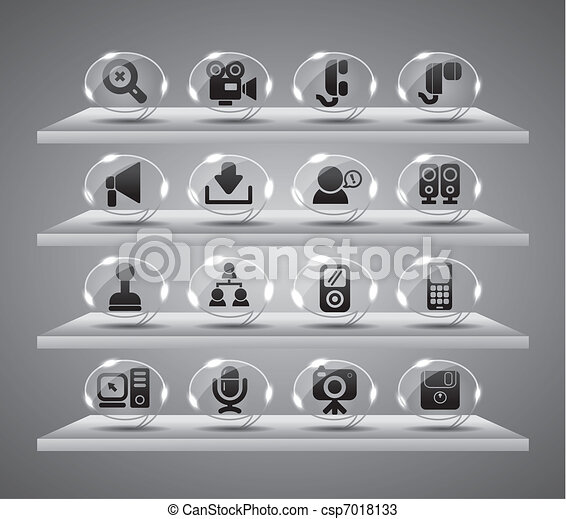 icônes toile, boutons, verre, speach - csp7018133