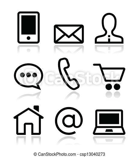 icônes toile, vecteur, ensemble, contact - csp13040273