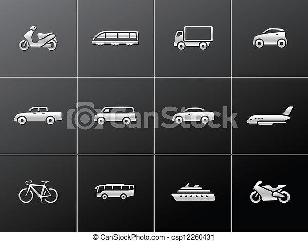 icônes, transport, métallique, - - csp12260431