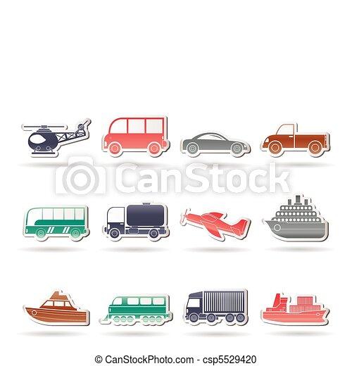 icônes, transport, voyage - csp5529420