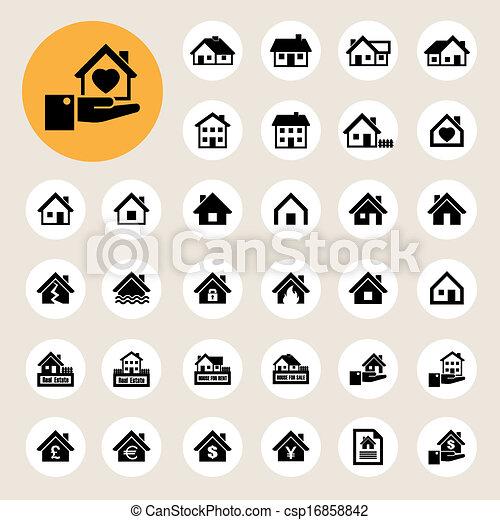 icônes, vrai, set., maisons, estate. - csp16858842