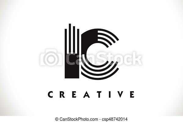 Line Design Clipart Free : Ic logo letter with black lines design line vector