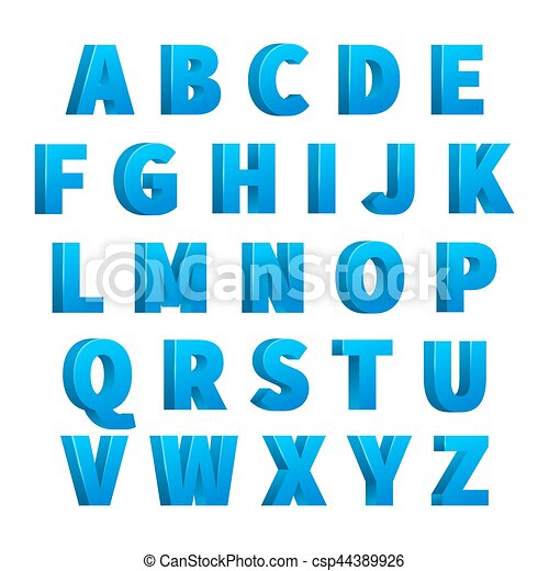 Ice Blue 3d Letters Characters Alphabet Lettering