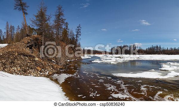 Ice break on the Chulman River - csp50836240