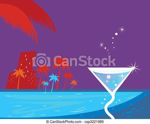 Ice cocktail, night water pool and palm trees - csp3221989