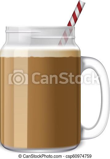 Ice coffee jar icon, realistic style. Ice coffee jar icon ...