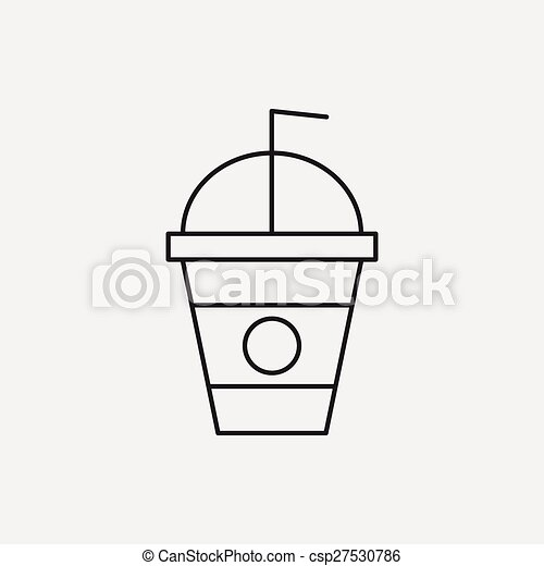 Ice Coffee Line Icon