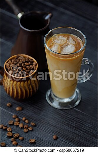 Ice coffee with milk and Turk view - csp50067219