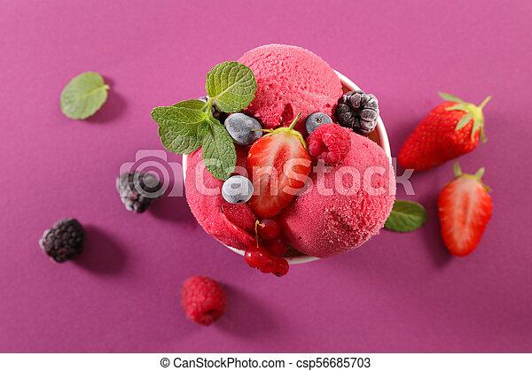 ice cream and fruits - csp56685703