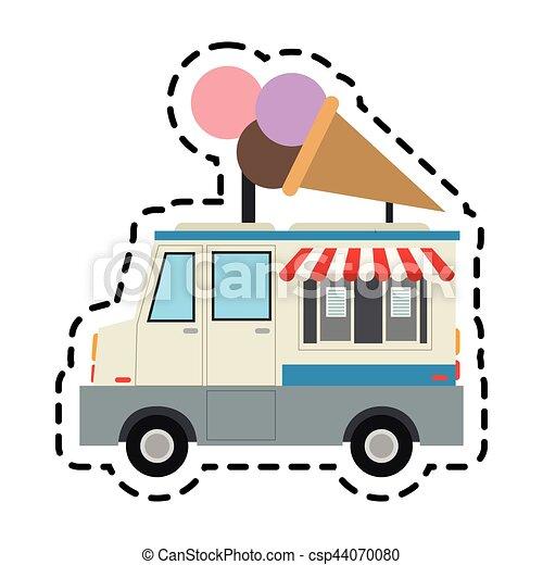 ice cream car icon over white background colorful design vector rh canstockphoto com