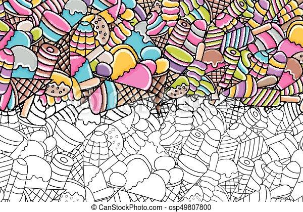Ice Cream Cartoon Doodle Background Design Ice Cream Cartoon Doodle