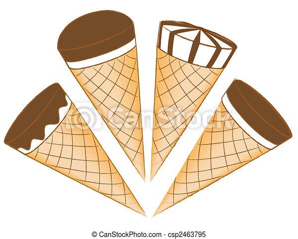 ice cream envidraçando waffle cones chocolate