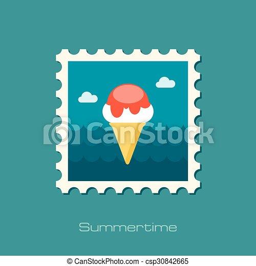 Ice Cream flat stamp - csp30842665