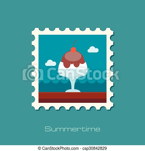 Ice Cream flat stamp - csp30842829