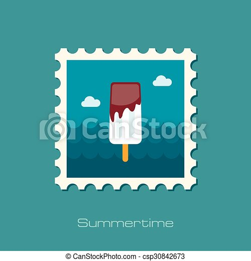 Ice Cream flat stamp - csp30842673