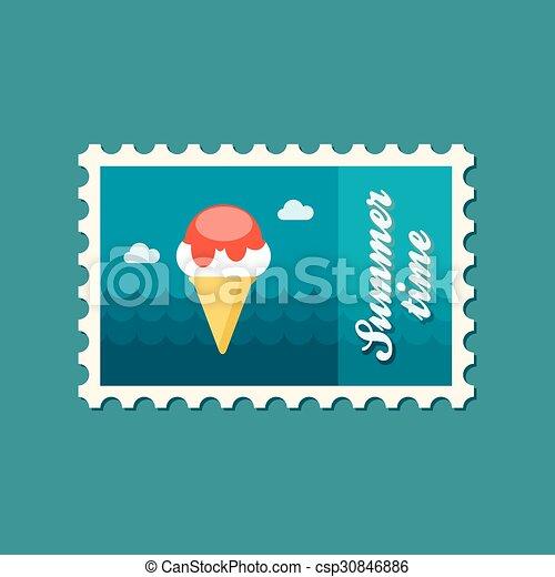 Ice Cream flat stamp, summertime - csp30846886