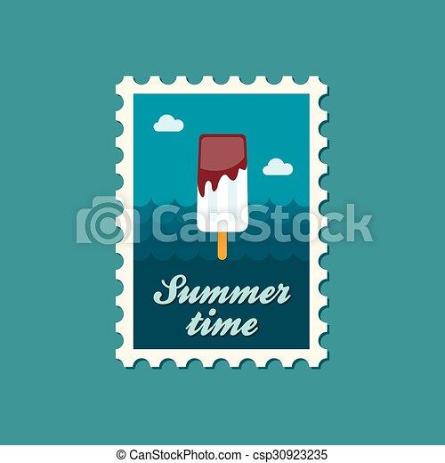 Ice Cream flat stamp, summertime - csp30923235