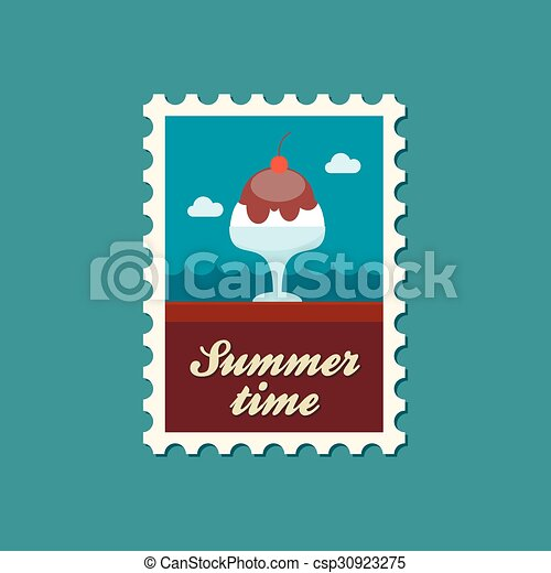 Ice Cream flat stamp, summertime - csp30923275