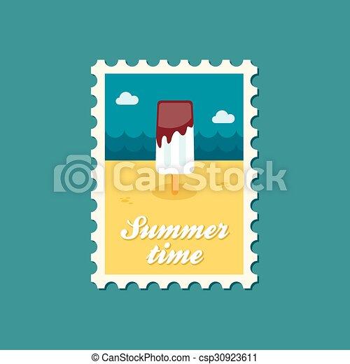 Ice Cream flat stamp, summertime - csp30923611