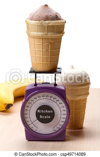 Ice cream in waffle cups and kitchen scales - csp49714089