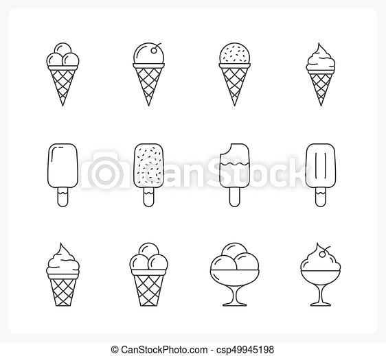 Ice Cream Line Icons Set Of Ice Cream Line Icons Vector Eps10