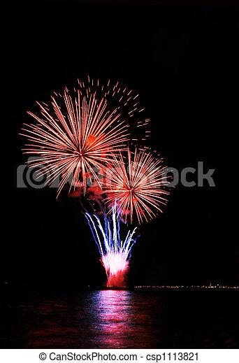 ice cream on cone fireworks - csp1113821