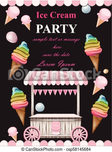 Ice Cream Party Invitation Card Vector Summer Ice Cream Booth Birthday Card Or Event Posters
