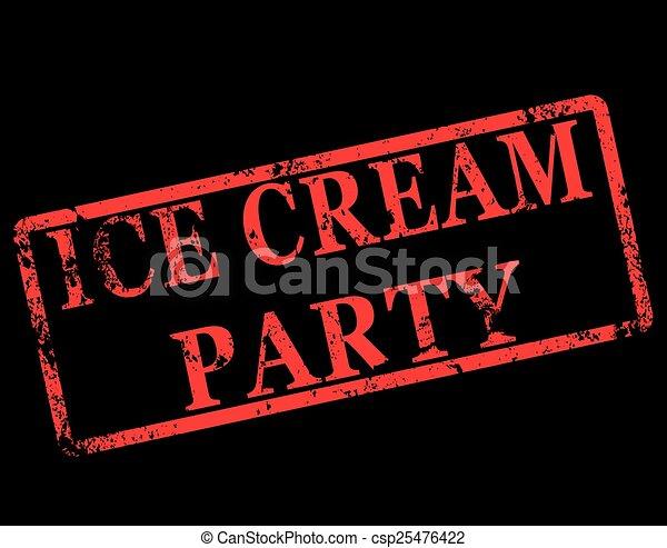 ice cream party stamp - csp25476422